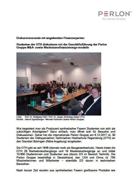 Diskussionsrunde Finanzexperten - Perlon Nextrusion