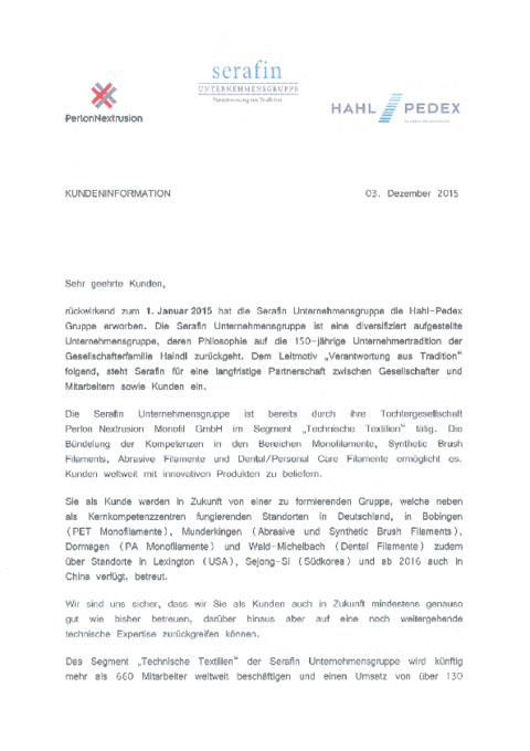 Hahl-Pedex Gruppe - Perlon Nextrusion