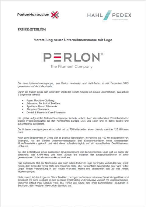 Logo Präsentation - Perlon Nextrusion