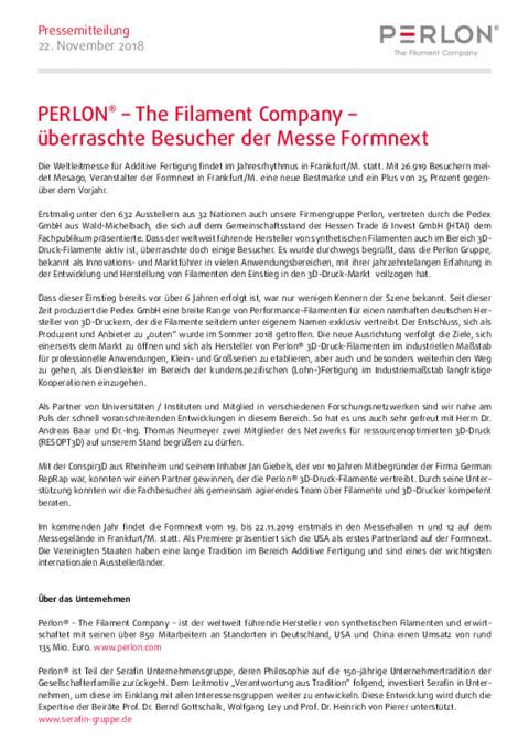 Messe Formnext - Perlon Nextrusion