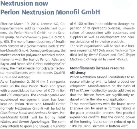 Perlon Nextrusion Monofil GmbH - Perlon Nextrusion