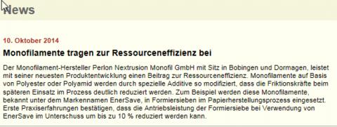 Ressourcen-Effizienz - Perlon Nextrusion